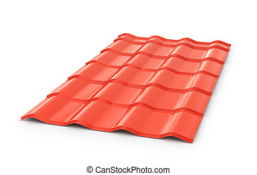 Red corrugated tile element of roof. Isolated on white...