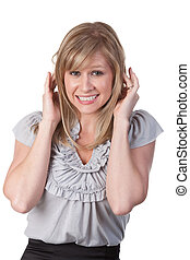 Frightened woman - Attractive business woman holding her...