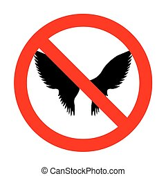 No Wings sign illustration.
