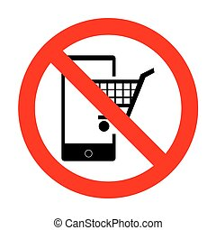 No Shopping on smart phone sign.