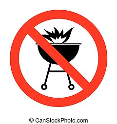 No Barbecue with fire sign.