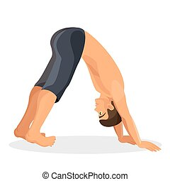 Isolated sporty boy doing downward facing dog pose on white...
