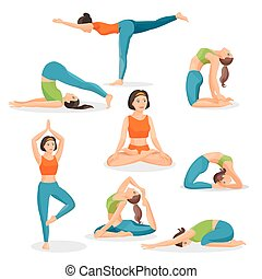 Asana yoga collection of girls doing sport in oriental poses...