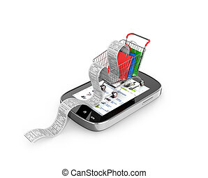 The concept of purchase. Smartphone on which stands the...