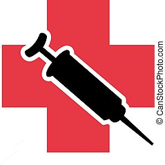 Injection in front of red cross