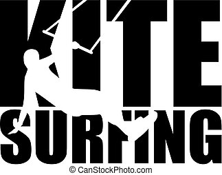 Kitesurfing word with silhouette