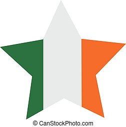 Striped star with colors of the ireland flag