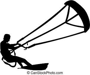 Kitesurfer surfen over the ocean