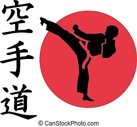Karate man in front of red circle and signs