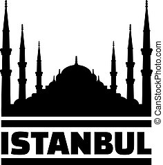 Mosque silhouette with Istanbul