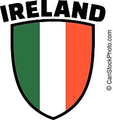 Ireland word with irish flag emblem