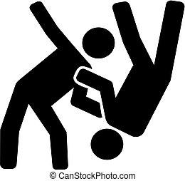 Judo fighter pictogram
