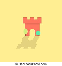 simple fortress icon with shadow and trees