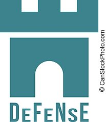 defense logotype with fortress icon