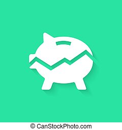 white broken piggy bank with long shadow. concept of...