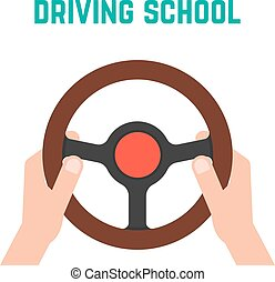 hand holding steering wheel. concept of trip, highway,...