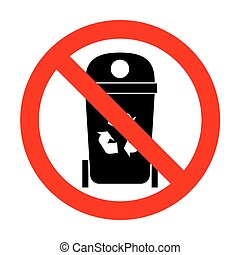 No Trashcan sign illustration.