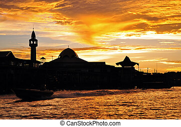 City Silhouette at Sunset - City silhouette at sunset,...