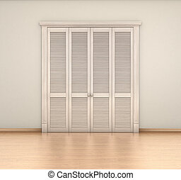 empty room interior and closet; 3d illustration