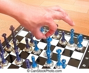Chess, chessboard, hand, click to bring down