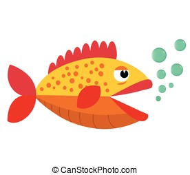 Cute fish  mouth opened with bubbles. Fish on a white background. Vector Illustration.