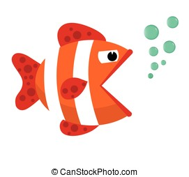 Fish mouth opened with bubbles. Fish on a white background. Vector Illustration.