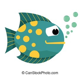 Cartoon fish with bubbles. Fish on a white background. Vector Illustration.