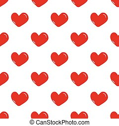 Seamless red hearts pattern on white