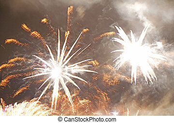 Fireworks - Great fireworks exploding over the waters of a...