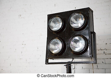 Spotlights in studio with wall - Spotlights in photo studio...