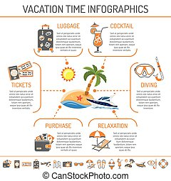 Vacation and Tourism infographics with Two Color flat Icons...