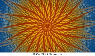 Rotating sunburst on blue