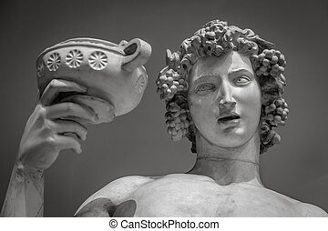 Dionysus Bacchus Wine statue portrait.