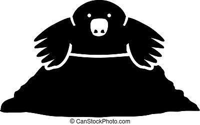 Mole silhouette in a hole
