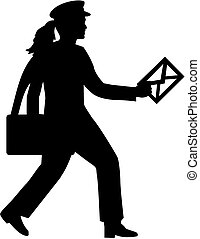 Mailwoman with letter