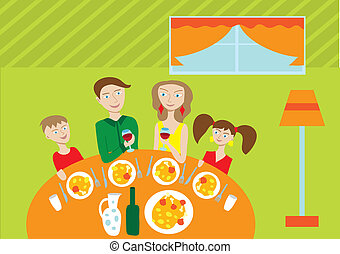 Happy family at the table - Happy family of four members at...