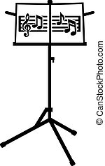 Music stand with notes and clef