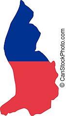 Liechtenstein map with flag