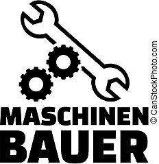 Mechanical engineer with gear wheels and wrench. German job...