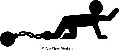 Man pictogram with shackle