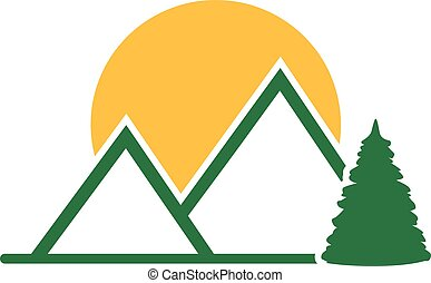 Mountains wood and sun icon