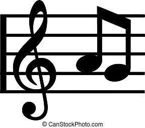 Music line with note and clef