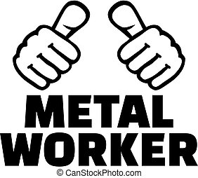 Metal worker with thumbs. T-Shirt design.