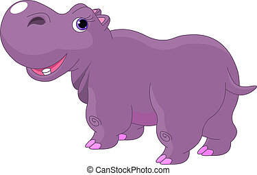 Cartoon Hippo - Illustration of funny fat cartoon Hippo