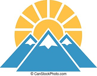 Icon with snowy mountains and sun