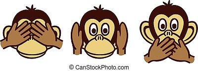 Three wise monkeys cartoon