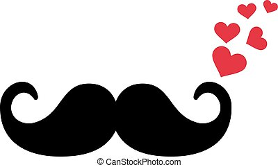 Mustache with flying hearts