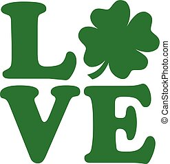 Love text with four-leaf clover
