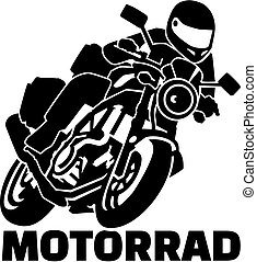 Motobike with biker and german word