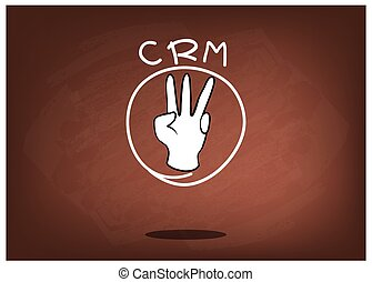 Hand Sign with CRM or Customer Relationship Management Concepts